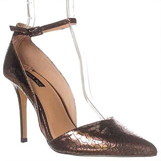 Izabella Rue Nina Ankle-Strap Pump Heels - Pewter