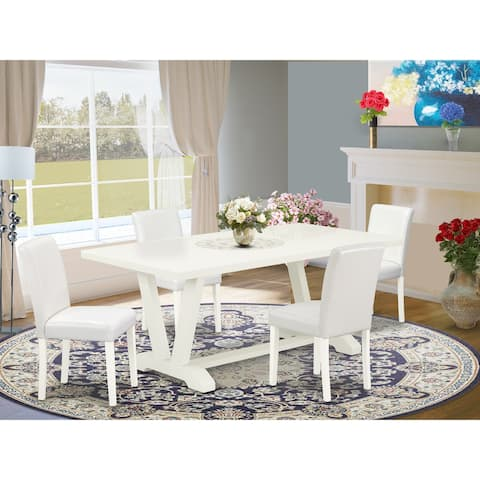 Stylish Dining Set a Linen White Modern Dining Table and Pu Leather Parson Chairs (Number of Chair and Bench Option)