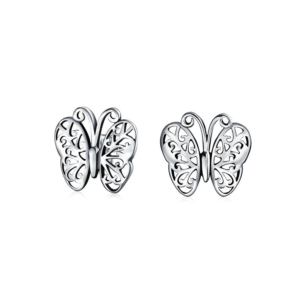 Sterling Silver Earrings Open Butterfly Studs 925 Stud Earrings