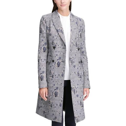 Calvin Klein Womens Petites Jacket Floral Print Plaid