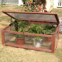 Costway Garden Portable Wooden Green House Cold Frame Raised Plants Bed Protection - as pic