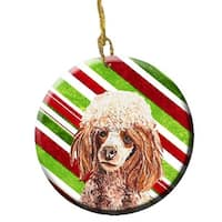Red Miniature Poodle Candy Cane Christmas Ceramic Ornament