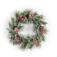 Set of 2 Green and Cherry Red Frosted Pine/Berry Decorative Christmas Wreath 27""