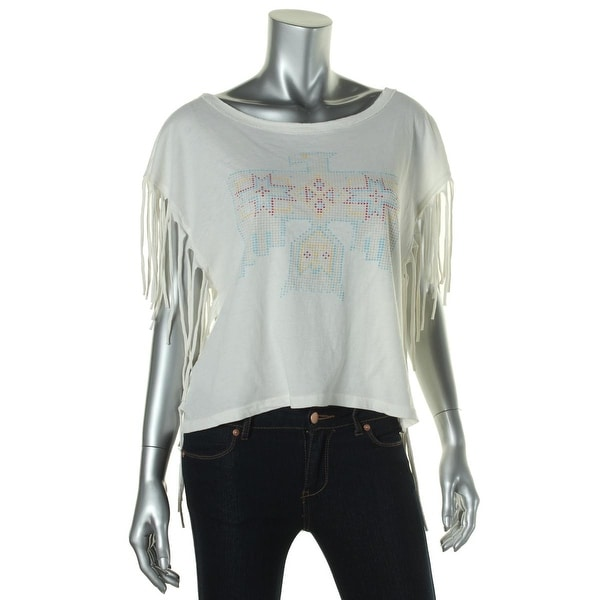 Denim & Supply Ralph Lauren Womens Graphic Tee Printed Fringe
