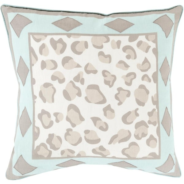 """20"""" Oatmeal Brown and Aqua Green Leopard Print with Diamonds Decorative Throw Pillow –Down"""
