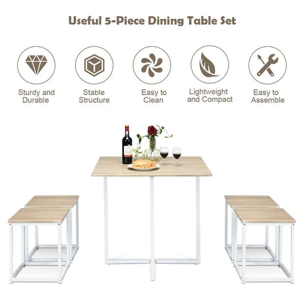 Gymax 5 Piece Dining Table And Chairs Set Metal Legs