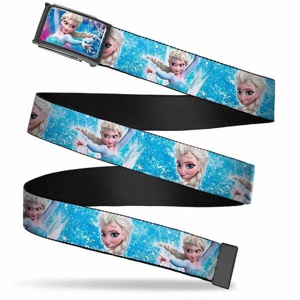 Elsa The Snow Queen Magic Pose Snowflakes Fcg Pinks Blues Chrome Web Belt