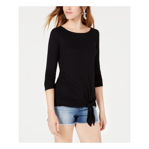 BAR III Womens Black 3/4 Sleeve Boat Neck T-Shirt Top Size XS
