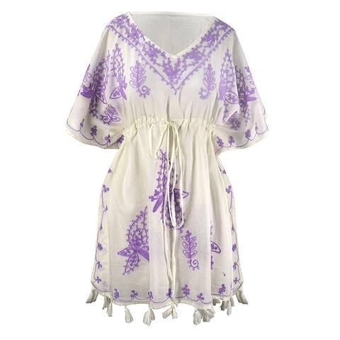 1381664153 Peach Couture Summer Womens Cotton Floral Cover-up Kaftan Beachwear Tunic