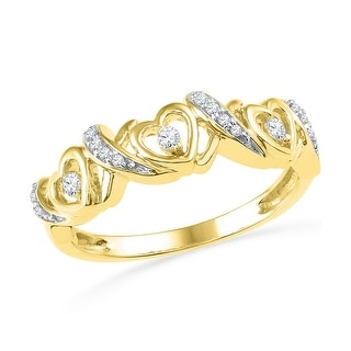 10k Yellow Gold Natural Diamond Womens Triple Heart Valentines Fashion Ring band .12 Cttw - White