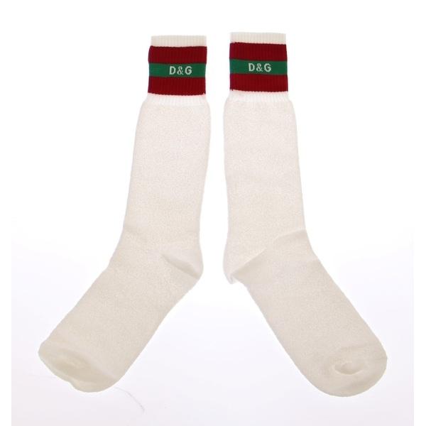 Dolce & Gabbana White Logo Cotton Stretch Socks - S