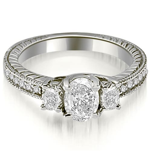 1.00 cttw. 14K White Gold Antique Three Stone Oval Diamond Engagement Ring