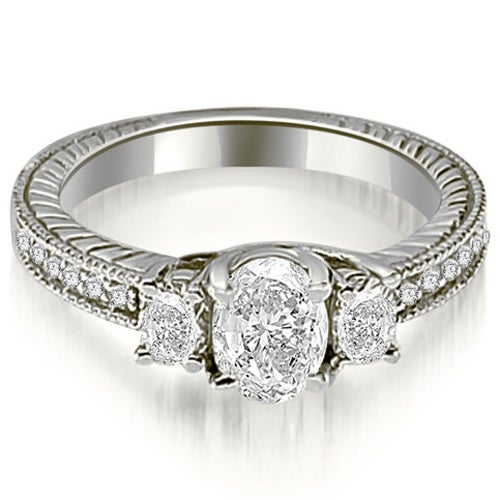 1.25 cttw. 14K White Gold Antique Three Stone Oval Diamond Engagement Ring