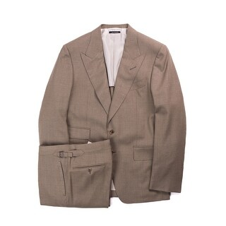 Tom Ford Brown Shelton Base Melange Peak Lapel Suit - 40r