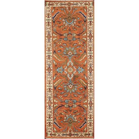 "Floral Indo Heriz Serapi Oriental Wool Runner Rug Handmade Carpet - 2'7"" x 7'11"""