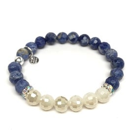 Blue Sodalite 'Jen' Stretch Bracelet, Crystal & Sterling Silver