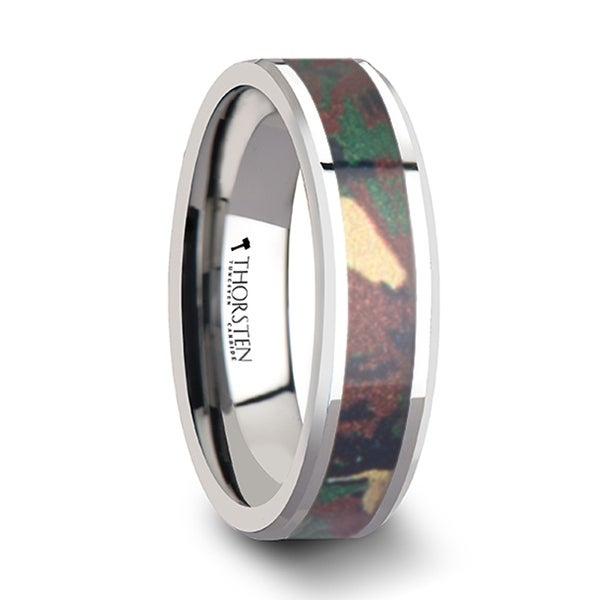THORSTEN - COMMANDO Tungsten Wedding Ring with Military Style Jungle Camouflage Inlay - 6 mm