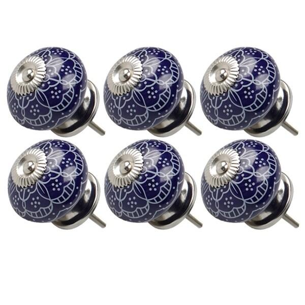 6pcs Ceramic Knobs Vintage Knob Drawer Round Pull Handle Furniture Drawer Cupboard Wardrobe Dresser Door Decorative, Blue