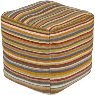 "18"" Multi Colored Striped Square Wool Pouf Ottoman"