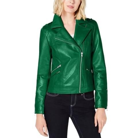 INC Women's Emerald Green Medium M Motorcycle Faux Lether Moto Jacket