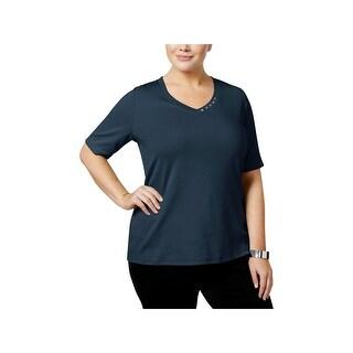 Karen Scott Womens Plus Pullover Top V-Neck Short Sleeves