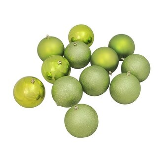 """Link to 12ct Kiwi Green Shatterproof 4-Finish Christmas Hanging Ball Ornaments 4"""" (100mm) Similar Items in Christmas Decorations"""