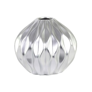 Urban Trends Ceramic Round Low Vase with Round and Small Lip, and Embossed Wave Design Matte Finish Silver
