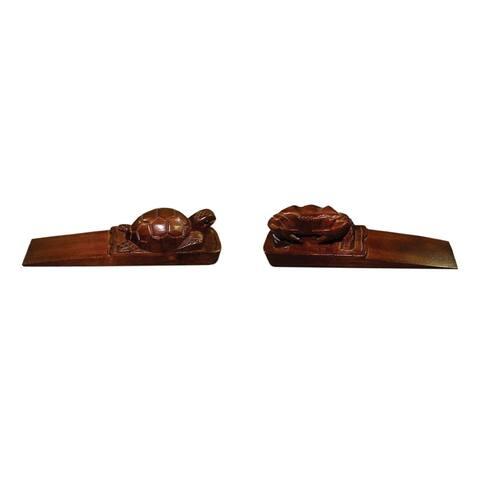 Offex Handmade Turtle and Crab Solid Teak Wooden Door Stopper