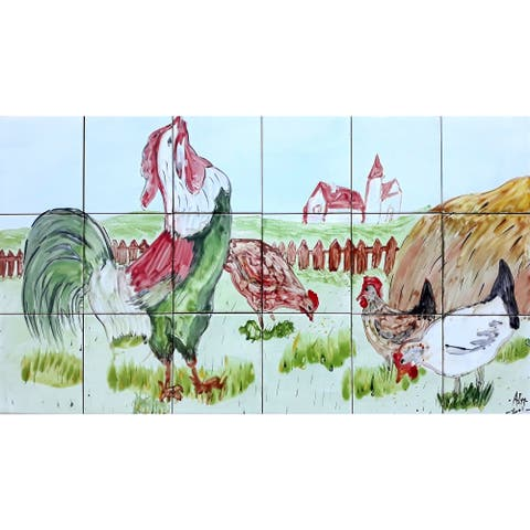 36in x 18in French Country Kitchen Backsplash Mosaic Tile 18pc