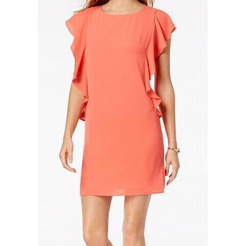 Jessica Howard Orange Coral Womens Size 12 Ruffled Short Shift Dress