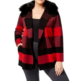 Belldini Red Women's Size 1X Plus Plaid Faux Fur Collar Jacket