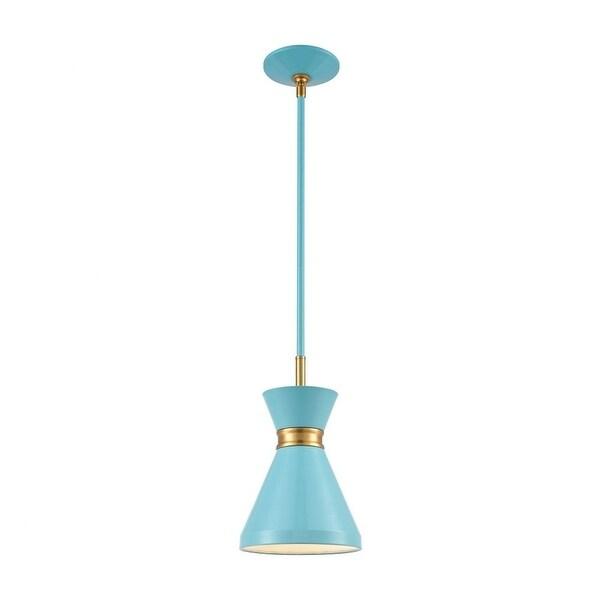 Shepherds Lane - One Light Mini Pendant Pastel Blue/Brushed Brass Finish with Metal Shade. Opens flyout.