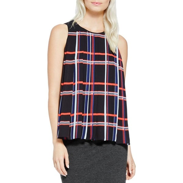 Vince Camuto Womens Blouse Plaid Pleated