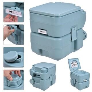 Gymax Outdoor Camping Hiking Portable Toilet Flush Potty - greenish gray