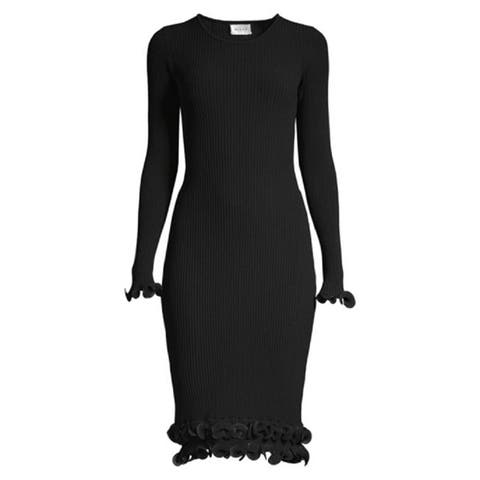 MILLY Wired Edge Long Sleeve Ribbed Fitted Dress Black