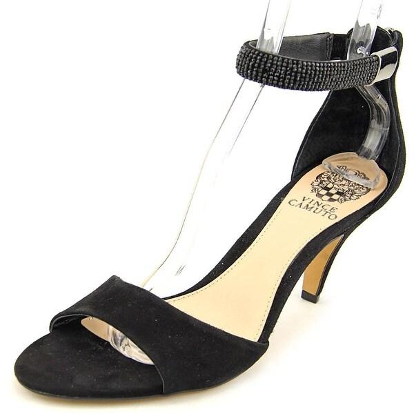 Vince Camuto Mistin Women Open Toe Leather Black Sandals