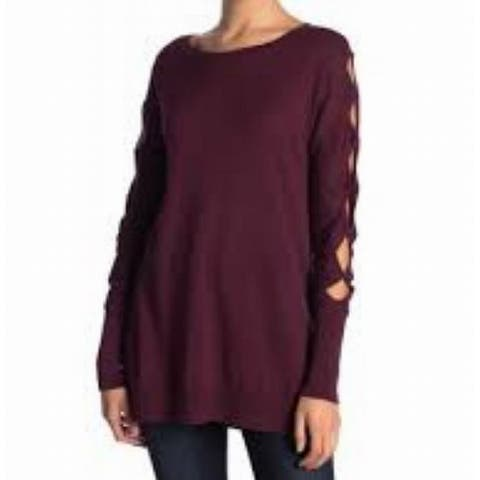 14th & Union Women's Medium Cutout Ribbed Trim Tunic Sweater