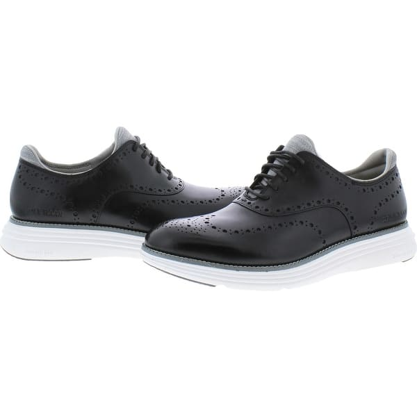 Cole Haan Mens Ultra Grand Black Leather//Optic White Wing Tips Size 12