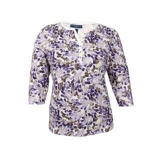 Karen Scott Women's Plus Size Printed Henley Top (0X, Cassis) - cassis - 0X