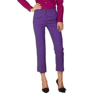 Miu Miu Women's Virgin Wool Stretch Fit Pants Purple