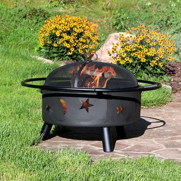 Sunnydaze 30 Inch Stars & Moons Wood Burning Fire Pit with Grate & Spark Screen