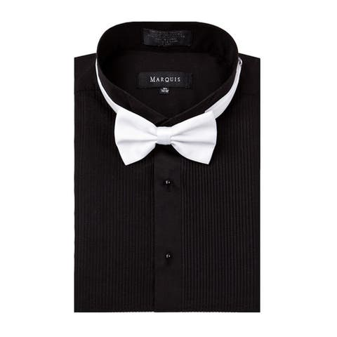 Marquis wing tip collar tuxedo dress shirt with bow tie