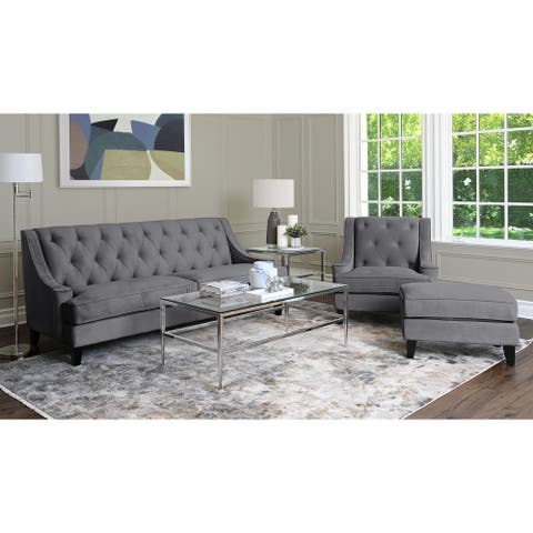 Abbyson Claridge Dark Grey Velvet 3 Piece Livingroom Set