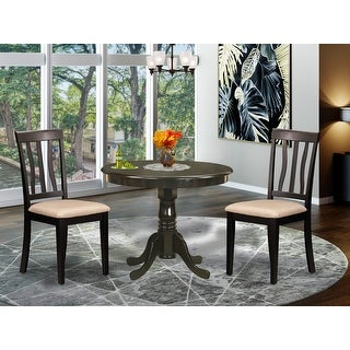 Link to East West Furniture Cappuccino Round Table Plus 2 Kitchen Chairs 3-piece Dining Set (Finish Chair) Similar Items in Dining Room & Bar Furniture