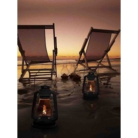 """LED Lighted Sunset Beach Relaxation with Lanterns Canvas Wall Art 15.75"""" x 11.75"""""""