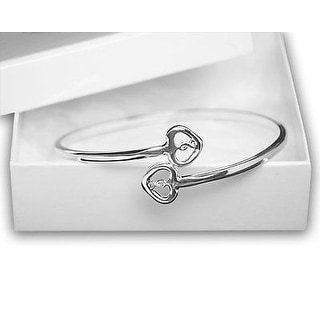 Silver Two Hearts & Ribbon Bangle Bracelets For Autism ASD Awareness