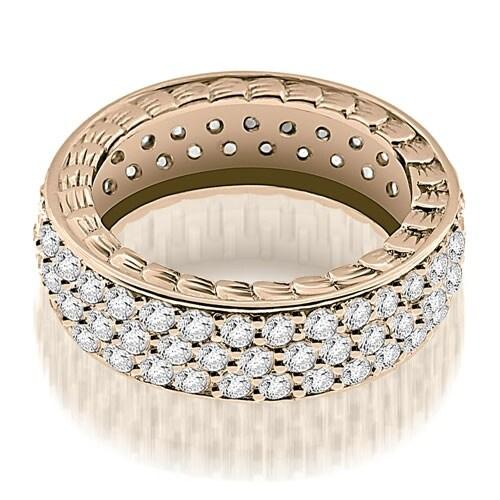 1.17 cttw. 14K Rose Gold Three Row Vintage Style Round Diamond Eternity Ring