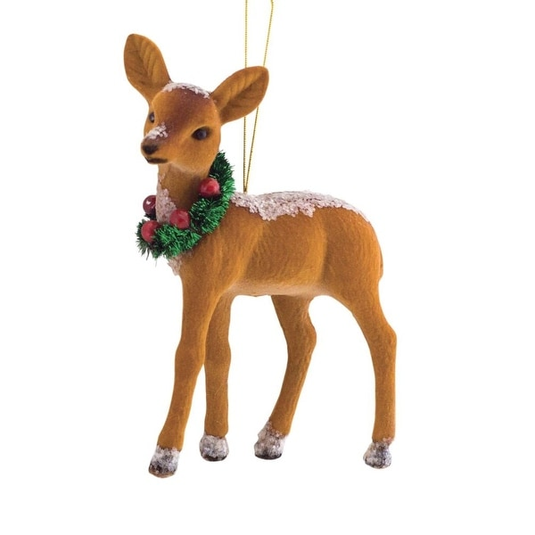 """Club Pack of 12 Country Rustic Deer with Wreath Christmas Ornament 7"""" - brown"""