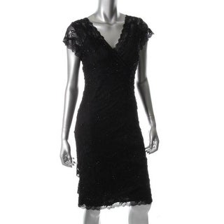 Marina Womens Lined Lace Cocktail Dress - 10