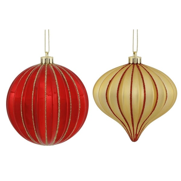 "9ct Red & Soft Gold Glitter Striped Shatterproof Christmas Onion and Ball Ornaments 4"" (100mm)"
